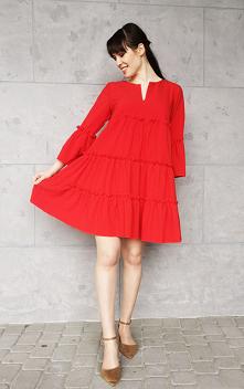 Czerwona Sukienka Trapezowa...