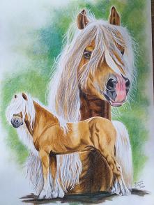 Konie wykonane kredkami i f...