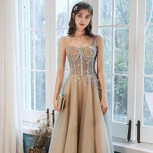 Eleganckie Szampan Sukienki Wieczorowe 2020 Princessa Kwadratowy Dekolt Frezowanie Cekiny Bez Rękawów Bez Pleców Długie Sukienki Wizytowe