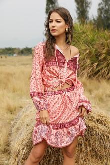 Modny komplet na lato w stylu etno. Letni komplet, spódnica i bluzka zwiewna ...