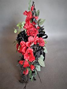 Czarno-czerwony stroik na c...