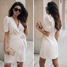 Kremowa, elegancka sukienka...
