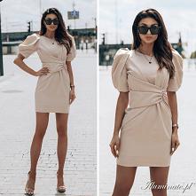 Beżowa, elegancka sukienka ...