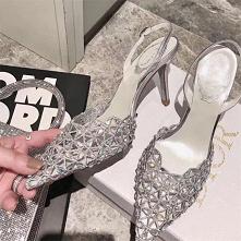 Uroczy Srebrny Koktajlowe Rhinestone Sandały Damskie 2020 Skórzany Slingback 10 cm Szpilki Szpiczaste Sandały