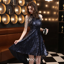 Błyszczące Granatowe Sukienki Koktajlowe 2020 #SukienkiKoktajlowe #SukienkiWizytowe