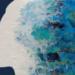 Obraz akrylem, 65 x 39, kolorystyka morska, imitacja fal we włosach. Na sprzedaż