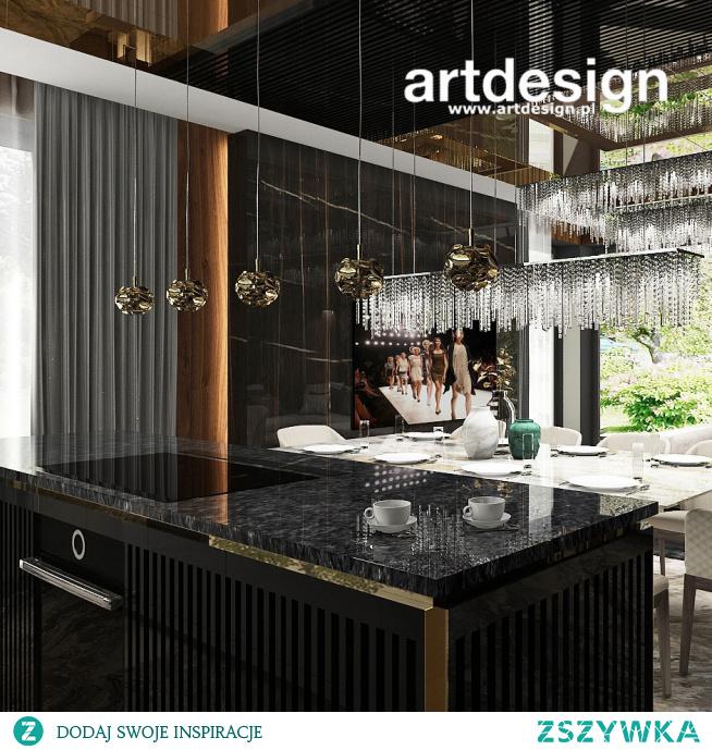 Luksusowa kuchnia z wyspą otwarta na salon. | AESTHETIC PLEASURE | Wnętrza domu
