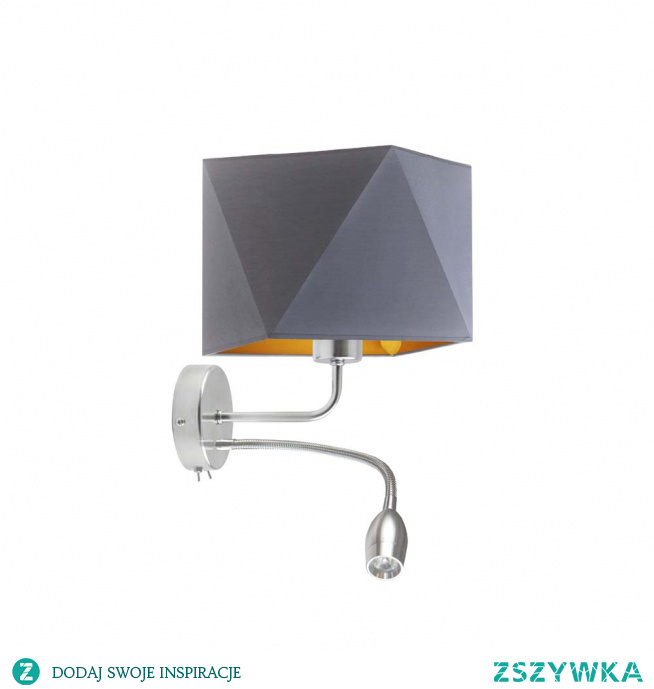 Kinkiet ścienny KENT GOLD to zjawiskowa lampa , która idealnie wpisze się w nowoczesne aranżacje wnętrz! Oświetlenie składa się z geometrycznego klosza wykonanego z holenderskiej tkaniny tekstylnej oraz metalowego stelaża. Dodatkowo klosz lampy wypełnia złota folia dostępna w dwóch fakturach powierzchni. W połączeniu z białym abażurem faktura ta jest błyszcząca i doskonale odbija światło, natomiast łącząc się z czernią, zielenią, szarością i granatem wnętrze to pozostaje całkowicie zmatowione. Stelaż lampy zaś wyposażony został w dodatkowy panel LED, dzięki któremu możemy skierować łunę światła na dowolnie wybrany przez nas obszar. Designerska, stylowa i czarująca w kilka chwil odmieni wnętrze Twojego salonu, sypialni a także biura. Lampa mierzy 26 cm wysokości, 25 cm szerokości i 34 cm długości panelu LED.  Kinkiet ścienny dostępny jest w 5 kolorach abażura: biały ze złotym wnętrzem (złoty połysk), czarny ze złotym wnętrzem (złoty mat), zieleń butelkowa ze złotym wnętrzem (złoty mat), szary stalowy ze złotym wnętrzem (złoty mat), granatowy ze złotym wnętrzem (złoty mat). Oraz w dwóch odcieniach stelaża: chromu i stali szczotkowanej.