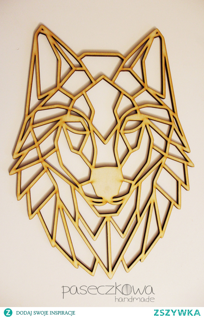 Drewniany geometryczny wilk facebook: paseczkowa.handmade