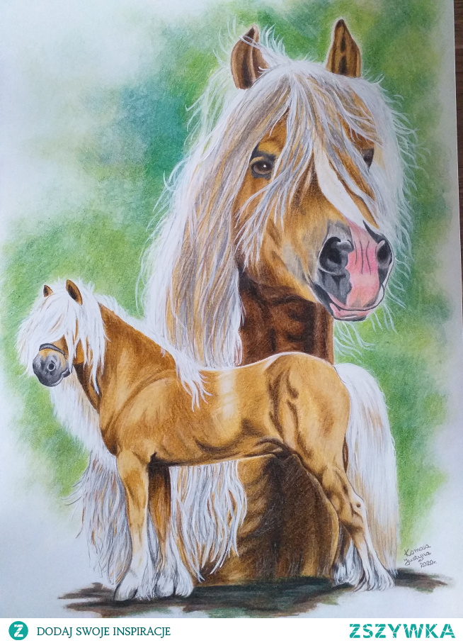 Konie wykonane kredkami i farbką, format A3.