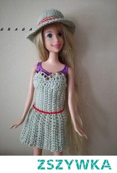 Sukienka z kapeluszem dla Barbie