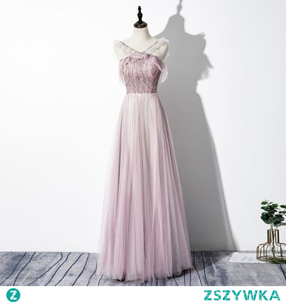 Uroczy Rumieniąc Różowy Sukienki Wieczorowe 2020 Princessa V-Szyja Frezowanie Cekiny Bez Rękawów Bez Pleców Długie Sukienki Wizytowe