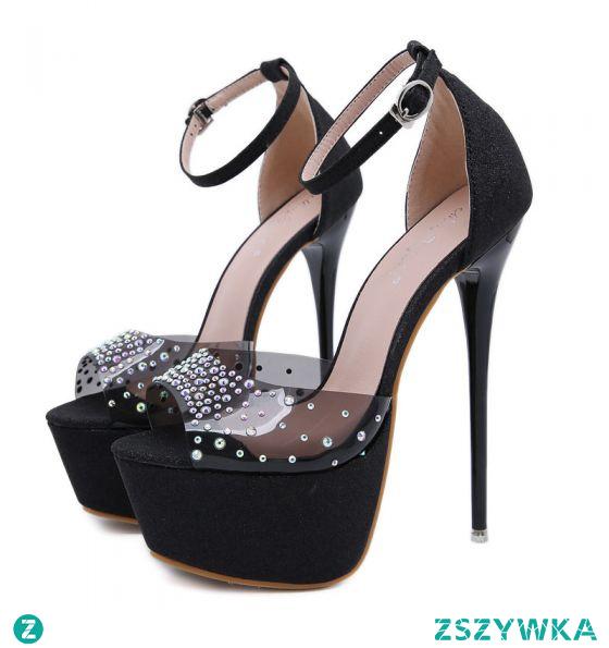 Seksowne Czarne Koktajlowe Sandały Damskie 2020 Cekiny Rhinestone Z Paskiem 17 cm Szpilki Peep Toe Sandały