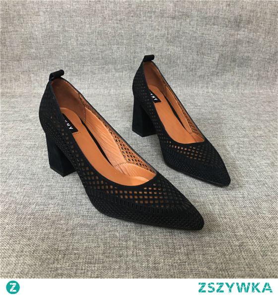 Proste / Simple Czarne Przypadkowy Przebili Sandały Damskie 2020 Skórzany 7 cm Grubym Obcasie Szpiczaste Sandały