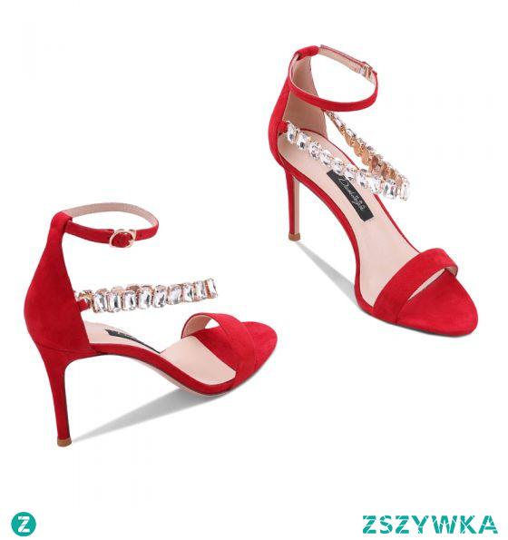 Seksowne Czerwone Koktajlowe Sandały Damskie 2020 Rhinestone Z Paskiem 10 cm Szpilki Peep Toe Sandały
