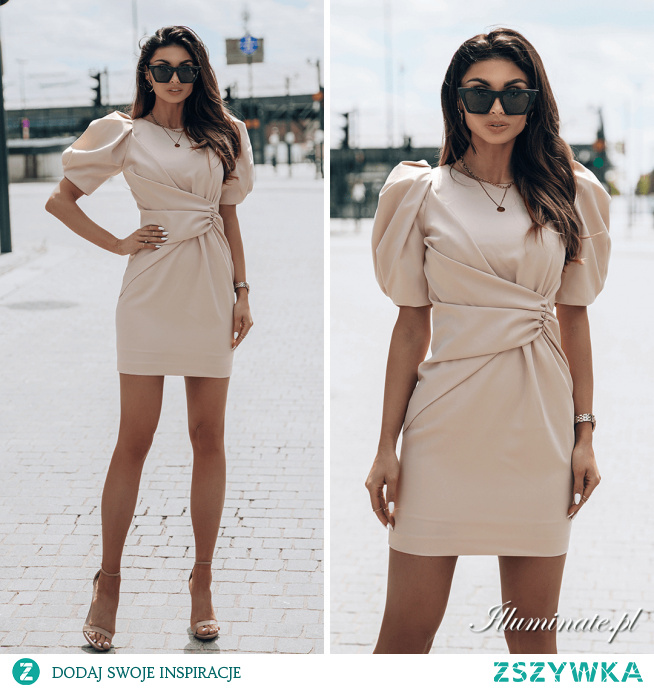 Beżowa, elegancka sukienka na wesele, chrzest, komunię KAREN Illuminate.pl <3