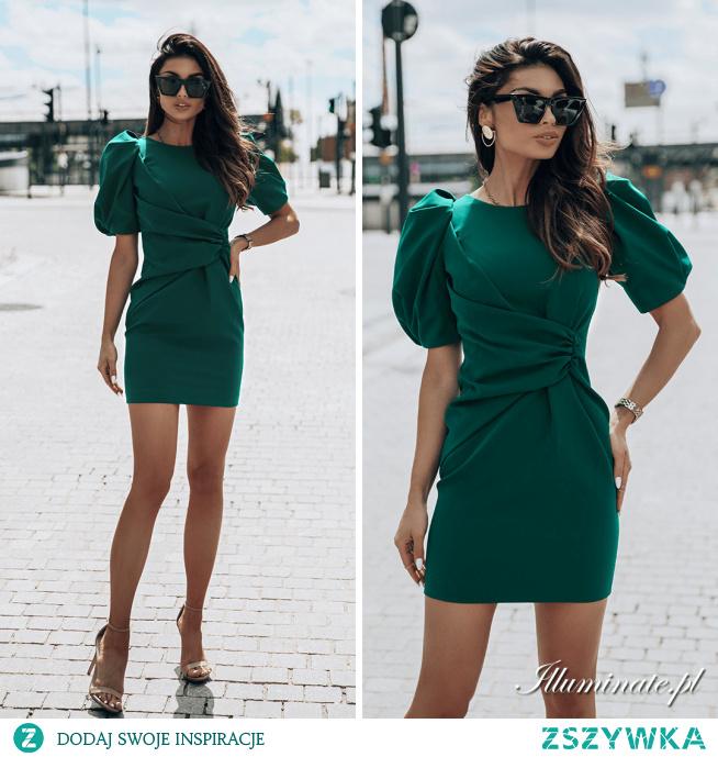 Elegancka sukienka KAREN butelkowa zieleń Illuminate.pl <3