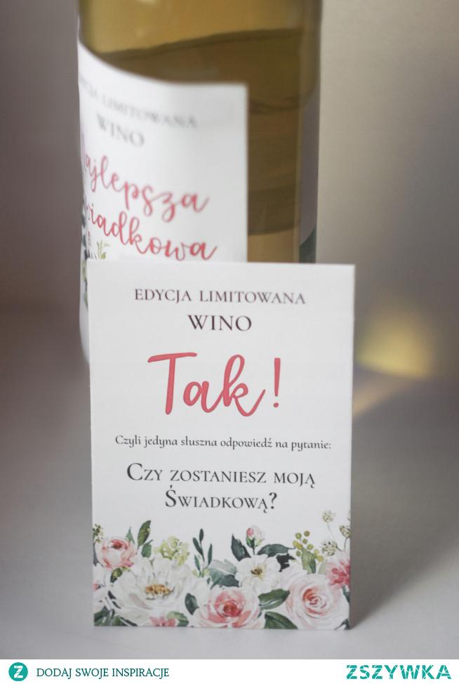 prośba o świadkowanie - naklejka na wino
