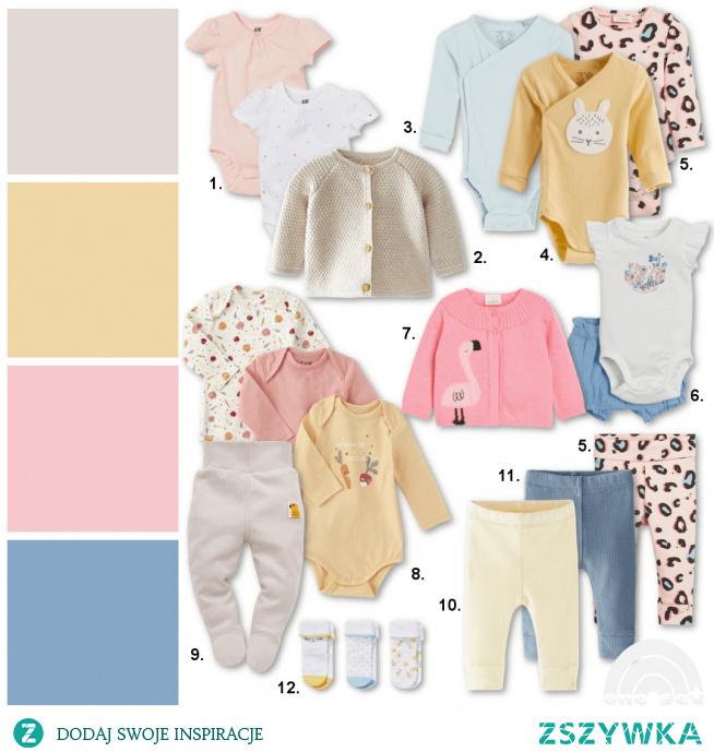 propozycja zestawu ubrań dla noworodka urodzonego latem - dziewczynka
