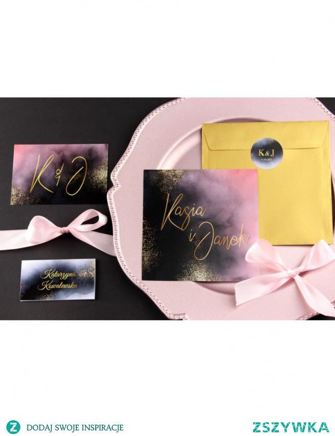 Zaproszenia ślubne navy blush - eleganckie zaproszenia z wkładką RSVP na Twój ślub!