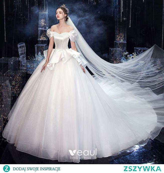 Vintage Białe ślubna Suknie Ślubne 2020