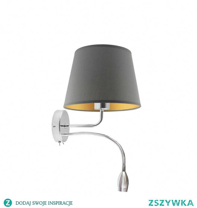 Kinkiet IMPERIA GOLD stworzono dla klientów ceniących sobie komfort użytkowania. Ta lampa ścienna wyposażona jest bowiem w dodatkowy panel LED, który można dowolnie ustawić, zmieniając w ten sposób kąt padania światła. Taka dodatkowa opcja podnosi funkcjonalność i wpływa na wygodę korzystania z kinkietu.Wnętrze tego stożkowego zwieńczenia lampy, uatrakcyjniono wykorzystując w nim obecność złotej folii. Folia ta prezentuje się w standardowy, matowy sposób w czarnym,zielonym,szarym i granatowym abażurze, zaś jej biała forma posiada środek o fakturze, która odbija światło. Wcześniej wspomniany panel LED mierzy 34 cm a całkowita wysokość lampy to 26 cm.  Kinkiet dostępny jest w 5 kolorach abażurów: biały ze złotym wnętrzem (złoty połysk), szary stalowy ze złotym wnętrzem (złoty mat), zieleń butelkowa ze złotym wnętrzem (złoty mat), granatowy ze złotym wnętrzem (złoty mat) oraz czarny ze złotym wnętrzem (złoty mat) oraz 2 kolorach stelaża: chrom, stal szczotkowana.