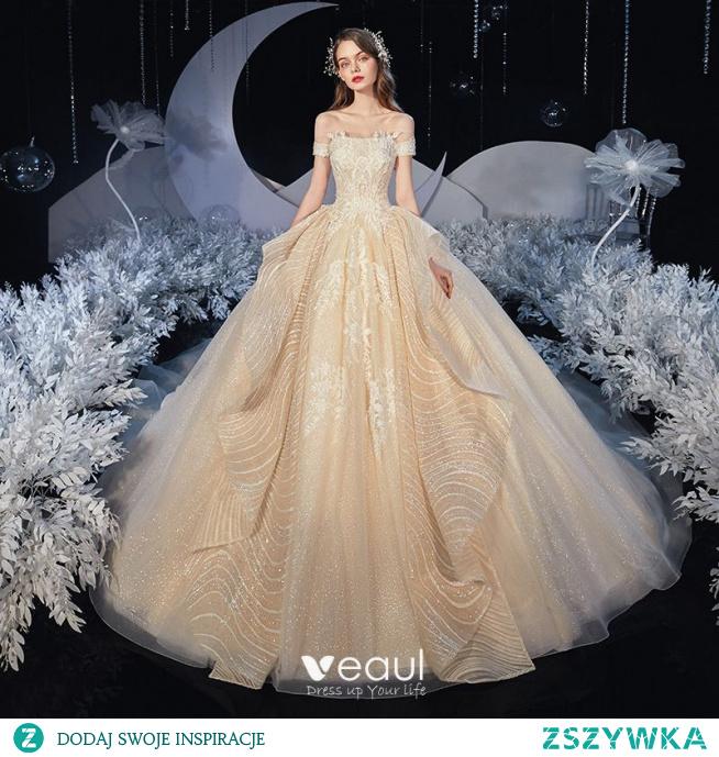 Eleganckie Szampan ślubna Suknie Ślubne 2020