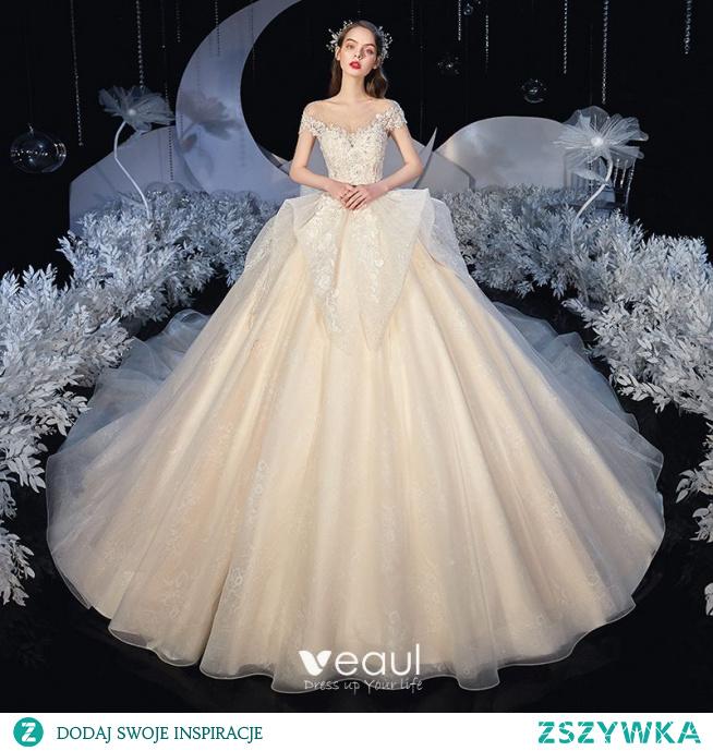 Romantyczny Szampan ślubna Suknie Ślubne 2020