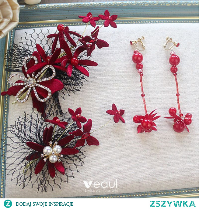 Moda Burgund Welur Kwiat Biżuteria Ślubna 2020