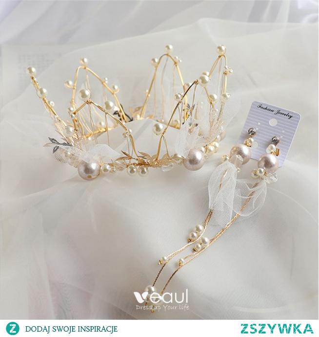 Uroczy Złote Biżuteria Ślubna 2020 Stop Perła Tiara Kutas Kolczyki Ozdoby Do Włosów Ślubne