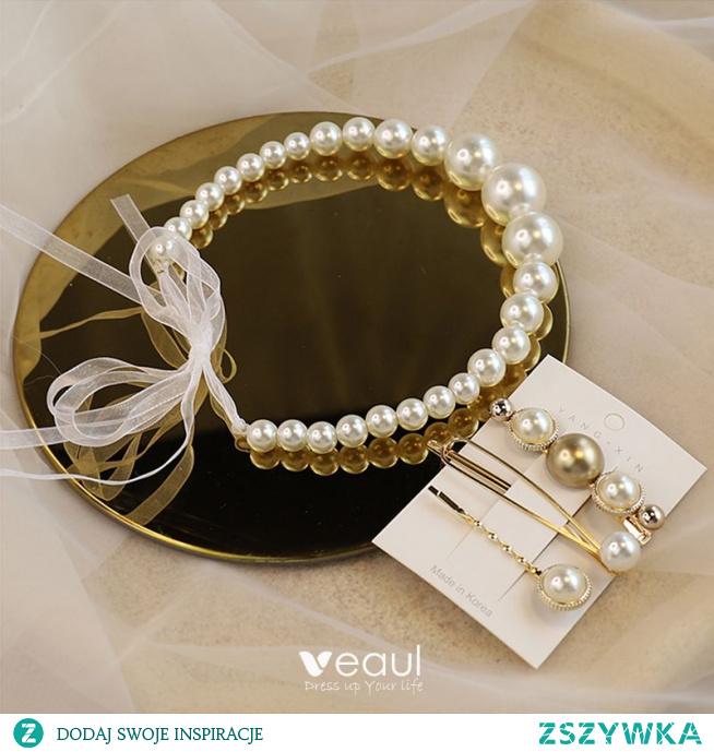 Eleganckie Kość Słoniowa Perła Opaski na głowę Ozdoby Do Włosów Ślubne 2020 Koronki Ozdoby Do Włosów Kolczyki Biżuteria Ślubna