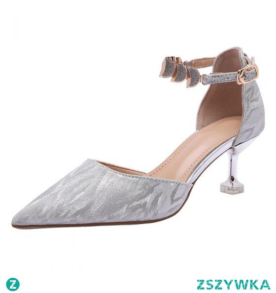 Uroczy Srebrny Buty Ślubne 2020 Cekiny Z Paskiem 6 cm Szpilki Szpiczaste Ślub Sandały