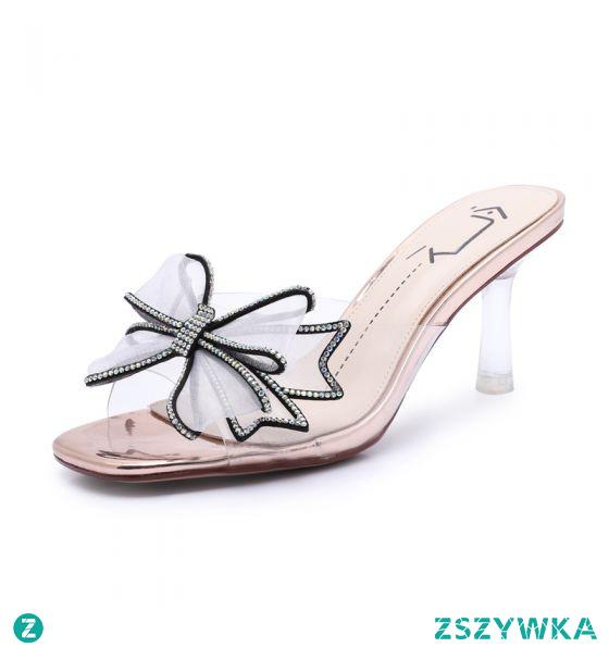 Moda Szampan Zużycie ulicy Sandały Damskie 2020 Rhinestone Kokarda 7 cm Szpilki Peep Toe Sandały