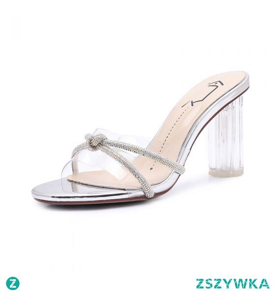 Seksowne Przezroczysty Srebrny Kryształ Sandały Damskie 2020 Zużycie ulicy Rhinestone 8 cm Grubym Obcasie Peep Toe Sandały