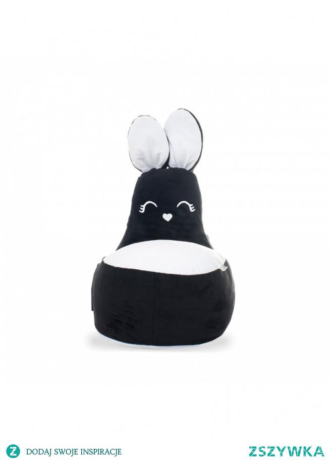 Siedzisko królik czarne, które dostępne jest także w wersji szaro białej, to jeden z produktów sklepu internetowego Tutulimy.