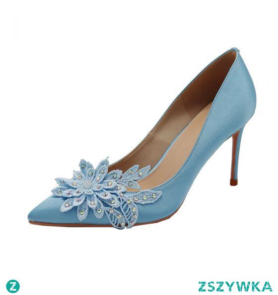 Eleganckie Niebieskie Na Wesele Czółenka 2020 Satyna Z Koronki Kwiat Rhinestone 8 cm Szpilki Szpiczaste Czółenka