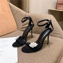 Proste / Simple Czarne Zużycie ulicy Sandały Damskie 2020 Rhinestone Kwiat Z Paskiem 10 cm Szpilki Peep Toe Sandały