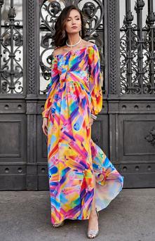 ROCO Elegancka długa sukien...