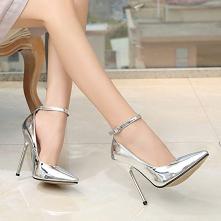 Moda Srebrny Wieczorowe Czółenka 2020 Skóry Lakierowanej Z Paskiem 13 cm Szpilki Peep Toe Czółenka