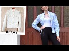 DIY biała kurtka jeansowa z efektem Tie Dye