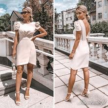 Elegancka, kremowa sukienka...