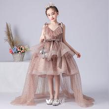 Wysoka Niska Brązowy Urodziny Sukienki Dla Dziewczynek 2020 #SukienkiDlaDziewczynek #SukienkiDlaDziewczynek2020