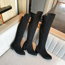 Piękne Zima Czarne Zużycie ulicy Zamszowe Buty Damskie 2020 7 cm Grubym Obcasie Okrągłe Toe Boots