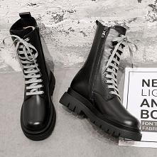 Piękne Czarne Zużycie ulicy Okrągłe Toe Skórzany Botki Płaskie Buty Damskie 2020