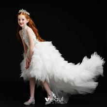 Wysokiej Klasy Białe Urodziny Sukienki Dla Dziewczynek 2020 #SukienkiDlaDziewczynek #sukienkadladziewczynki #sukienkaztiulu