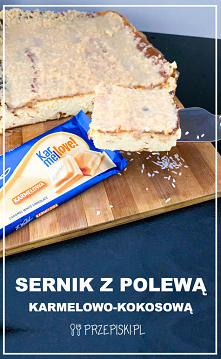 Sernik z Polewą Karmelowo-Kokosową
