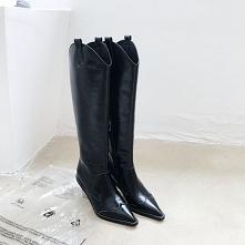 Moda Zima Czarne Zużycie ulicy Skórzany Do Kolan Buty Damskie 2020 6 cm Na Koturnie Szpiczaste Boots