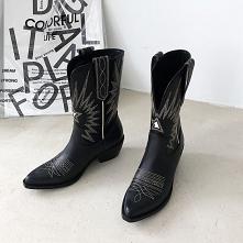 Piękne Zima Czarne Zużycie ulicy Połowy Łydki Buty Damskie 2020 Skórzany 5 cm Grubym Obcasie Szpiczaste Boots