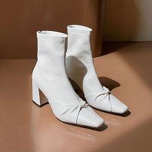 Proste / Simple Spadek Białe Przypadkowy Botki Buty Damskie 2020 Skórzany 7 cm Grubym Obcasie Kwadratowe Boots