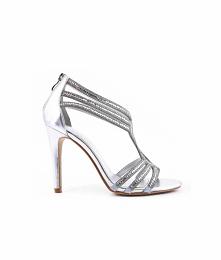 Szpilki  srebrne z cyrkoniamim sandały na obcasie, sandały na imprezę poleca sklep z butami styloweobcasy.pl